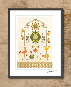 Mid Century Modern Inspired Nature Print by TANGRAMartworks, $25.00