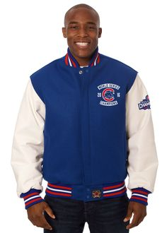 Chicago Cubs JH Design 2016 World Series Champions Domestic Two-Tone Wool Leather Jacket - Royal/White