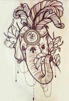 Elephant Tattoo Outline