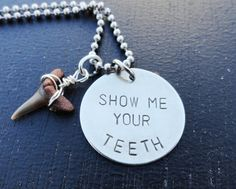 """Silver Shark Tooth Necklace - """"Show Me Your Teeth"""" from SugarandSoySauce on Etsy. Saved to handmadebyme. Diy Necklace, Dog Tag Necklace, Pendant Necklace, Lady Gaga Song, Shark Tooth Necklace, Friendship Necklaces, Xmas Stockings, Dog Teeth"""