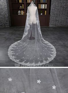 c0b98fb07f  € One-tier Lace Applique Edge Cathedral Bridal Veils With Applique Lace