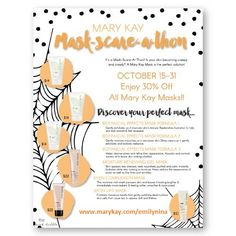 October 15th through the 31st I am having a GIANT SALE! Check out my Mask-Scare-A-Thon & MasCaraThon!