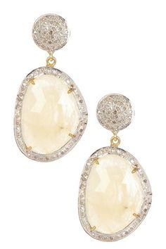 Vanilla Sapphire & Diamond Freeform Dangle Earrings