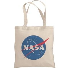 Trendy NASA Logo Graphic Totes | Are you obsessed with NASA? Wish you could launch into space and see the universe from a space shuttle? That would be cool. Show your love for science with this cute and trendy NASA logo tote bag.