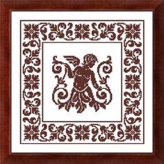 chart cross-stitch monochrome Italian replica filet antique geometric vintage motif