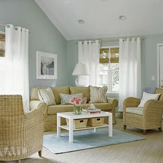 Love the colors and clean lines.  Robin's-egg blue, sea-grass tan, and white.