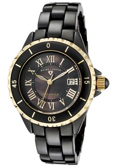 Swiss Legend Karamica Black High-Tech Ceramic Black MOP Dial Gold-Tone Accents - Watch 10049-BKBGR,    #SwissLegend,    #10049BKBGR,    #WatchesDressQuartz
