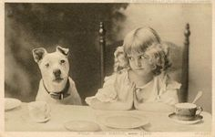 """Little girl and her Pit Bull saying grace. """"Fold your hands, Spot"""""""