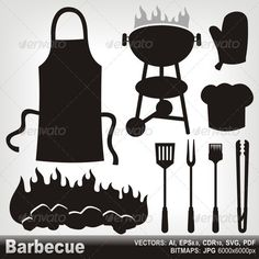 Barbecue Silhouettes - Food Objects