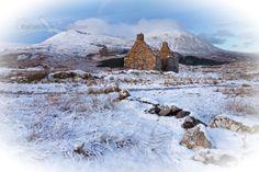 Kilchrist Ruin in the Winter and Ben na Caillich vignette. Strath Suardal. Isle of Skye. Scotland.
