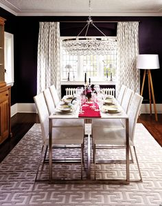 Pair a traditional block-print fabric (on the drapes) with a geometric Greek-key-inspired rug for an on-trend look.