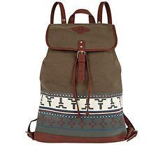 khaki aztec rucksack - rucksacks - bags / wallets - men - River Island