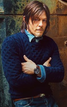 What To Wear Today: A take-charge watch and chunky knit sweater. ( Sebastian Kim) Norman Reedus Daryl Dixon The Walking Dead TWD The Boondock Saints, Daryl Dixon, Daryl Twd, Norman Reedus, The Walking Dead, Hollywood, Sebastian Kim, Cover Boy, Slash