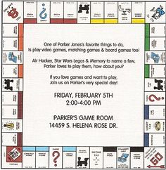 board game party invites - link is broken but text idea is good.