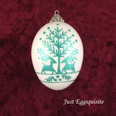 Christmas Egg Ornament Green Deer Pysanky by JustEggsquisite