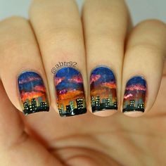 So, clearly, my painting skills need more work. But I really like how these turned out! My previous pic is of the photo I used as inspiration to paint them. . . #nails #nailpromote #nailart #dreamnailschallenge #skyline #citylife #clairestelle8april #cities #gradient #handpainted #art #workofart #photo #photooftheday #followme #nailsofinstagram #notd #instanails #instacool #instalike #clouds #freehand #sunset