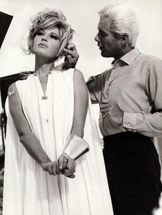 Monica Vitti and Dirk Bogarde for Modesty Blaise directed by Joseph Losey, 1966