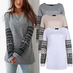 ISASSY Fashion Women Long Sleeve Shirt Casual Blouse Loose Cotton Tops T Shirt | eBay