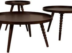 We all love to have a warm drink once in a while and an enticing and inviting piece of furniture that can always assist you are these rich, brown Arabica tables. They come in the choice of three sizes and make an attractive touch to any living room. Each table is extremely spacious with three wooden legs, one of which features a gorgeously twisted wooden leg. They beautifully come in to each other to create one corresponding coffee table and will surely have your guests flattered. Wooden Leg, Trash Bins, Recycling Bins, Household, Living Room, Luxury, Antiques, Metal, Brown
