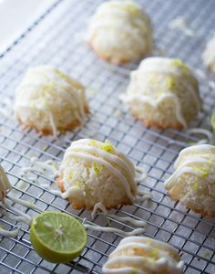 Key Lime and White Chocolate Coconut Macaroons by sweetpeasandsaffron: Summer in a cookie. #Cookies #Macaroons #Key_Lime #White_Chocolate #GF
