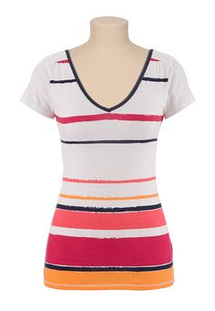 V-neck Stripe Tee - maurices.com