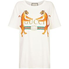 Gucci Tiger Logo T-Shirt (4.060 NOK) ❤ liked on Polyvore featuring tops, t-shirts, white logo t shirts, oversized white tee, cotton t shirts, logo t shirts and white tee