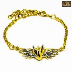 This gold warrior dragon bracelet is handcrafted from gold and rhodium plated over brass. It has an adjustable length of 14 - 19 cm circumference. Dragon Bracelet, Dragon Ring, Dragon Jewelry, Animal Rings, Ring Necklace, Stud Earrings, Silver Dragon, Jewelry Collection, Plating