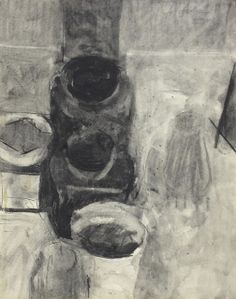 """©Frank Hobbs: """"Studio Table,"""" charcoal on bristol paper, 14 x 11 in. 