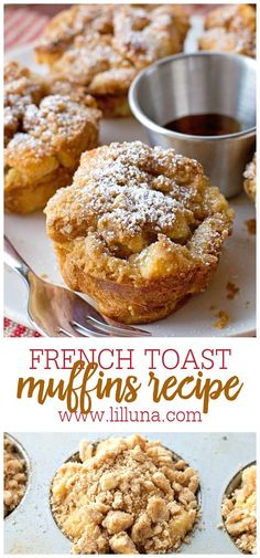 These French Toast Muffins are easy to make, using things you already have in your pantry! Your choice of bread, cubed and covered in egg and vanilla mixture, topped with a delicious sugary topping, and baked until golden and crispy. #frenchtoastmuffins #frenchtoast #muffins #breakfast #easymuffins Homemade Breakfast, What's For Breakfast, Breakfast Muffins, Breakfast Dishes, Breakfast Recipes, Donut Muffins, Homemade Muffins, Breakfast Biscuits, Donuts