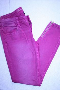 American Eagle Jeans 2 Pink Distressed Zippered Ankle Stretch Denim Jeggings #AmericanEagleOutfitters #StretchJegging