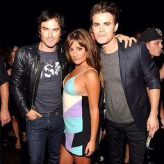 Ian Somerhalder, Lea Michele, and Paul Wesley at Teen Choice Awards 2014