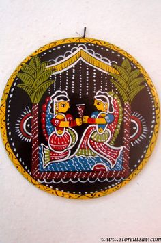Home Decor Indian Handicraft Madhubani Hanging Plate with Madhubani Painting of Bihar in East India Acrylic Painting On Paper, Fabric Painting, Simple Wall Paintings, Flamingo Painting, Value In Art, Hanging Plates, Madhubani Art, Indian Folk Art, Indian Art Paintings