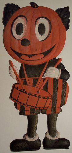 Vintage Halloween German Diecut Pumpkin Man by riptheskull, via Flickr