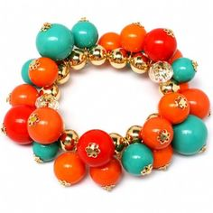 FALL Vailas High Polish Orange Cluster Bead Stretch ...