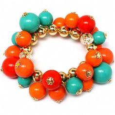 FALL Vailas High Polish Orange Cluster Bead Stretch ...