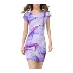 Rotita Round Neck Short Sleeve Printed Purple Dress ($21) ❤ liked on Polyvore featuring dresses, purple, sheath dress, purple print dress, mixed print dress, short sleeve mini dress and short sleeve sheath dress