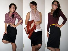 Different ways to wear a black pencil skirt