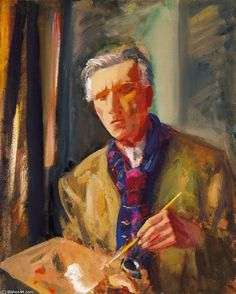 Odon Marffy - Self-portrait With Red And Blue Scarf Fauvism, Artist At Work, Red And Blue, Modern Art, Watercolor, Fine Art, History, Gallery, Artwork