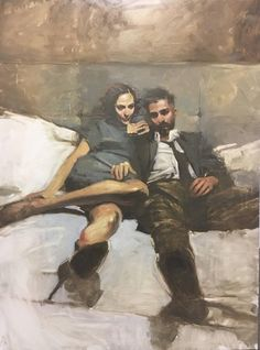 """Binge"" - Michael Carson (b. oil on panel, 2017 {figurative art seated male female couple cropped painting} Figure Painting, Figure Drawing, Painting & Drawing, Couple Painting, Art And Illustration, Figurative Kunst, Portrait Art, Portraits, Portrait Paintings"