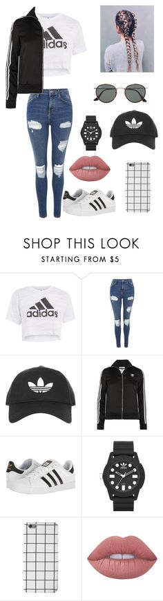 """Untitled #257"" by britney-pitts ❤ liked on Polyvore featuring adidas, Topshop, adidas Originals, Lime Crime and Ray-Ban"