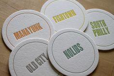 moontree letterpress coasters