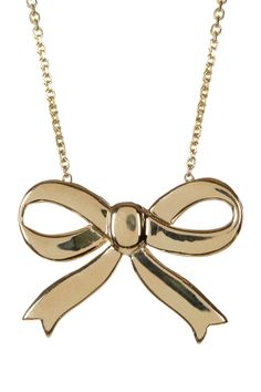 14K Yellow Gold Bow Ribbon Pendant Necklace