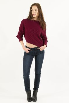 Asymmetrical Cropped Sweater - Burgundy