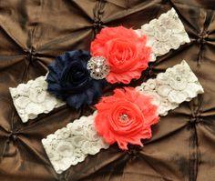 Wedding Garter Set, Bridal Garter Set - Ivory Lace Garter, Keepsake Garter, Toss Garter, Navy & Coral Wedding Garter, Navy Wedding Garter on Etsy, $22.00