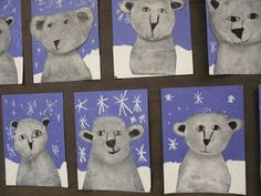 Polar Bears using white chalk on black paper! So smart