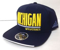 96805451512 new 26 ADIDAS MICHIGAN WOLVERINES SNAPBACK HAT Flat-Bill Navy-Blue Men Women