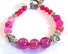 Check out Women's Fuchsia Beaded Bracelet on dunglebees