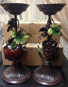 HOME INTERIORS $49.00 SONOMA VILLA FRUIT APPLE GRAPE 2 PC CANDLE SET MINT/BOX Candle Set, Candle Holders, Home Interior Catalog, Villa, Fruit, Mint, Interiors, Apple, Dishes