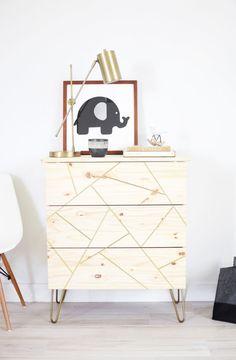 IKEA Hack: TARVA dresser done mid-century