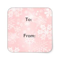 Snowflakes on Pink Gift Tags Square Sticker